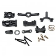 Steering arm (upper & lower)/ steering link/ servo horn/ servo saver/ servo saver spring/ servo horn mount/ ball stud (2)/ shock