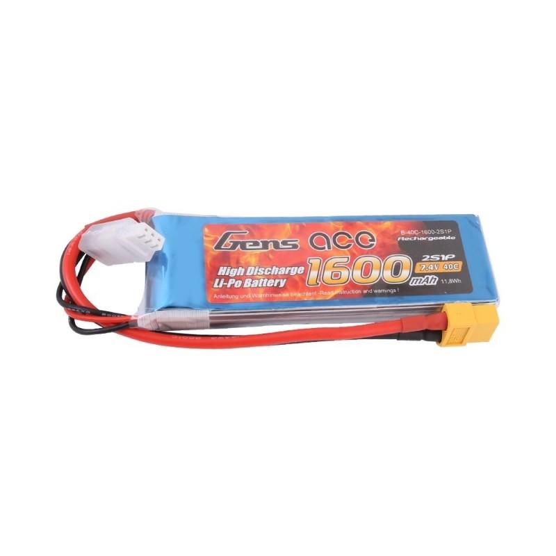 Gens Ace 1600mAh 7.4V 40C 2S1P Lipo Battery Pack with XT60 plug